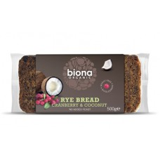COCONUT & CRANBERRY RYE BREAD (Biona) 500g