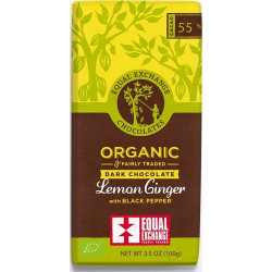 DARK LEMON, GINGER & PEPPER CHOCOLATE (Equal Exchange) 100g